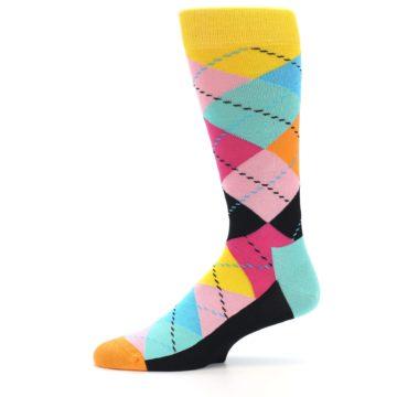 Image of Pink Multi Argyle Men's Dress Socks (side-2-11)