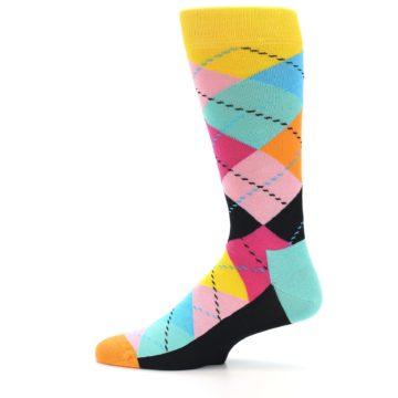 Image of Pink Multi Argyle Men's Dress Socks (side-2-12)