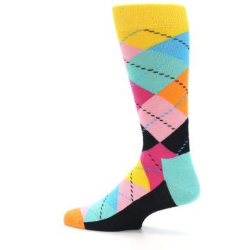 Image of Pink Multi Argyle Men's Dress Socks (side-2-13)