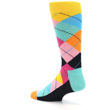 Image of Pink Multi Argyle Men's Dress Socks (side-2-back-14)