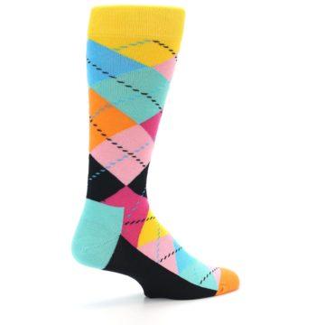 Image of Pink Multi Argyle Men's Dress Socks (side-1-23)