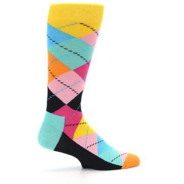 Image of Pink Multi Argyle Men's Dress Socks (side-1-24)