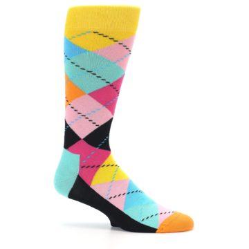 Image of Pink Multi Argyle Men's Dress Socks (side-1-25)