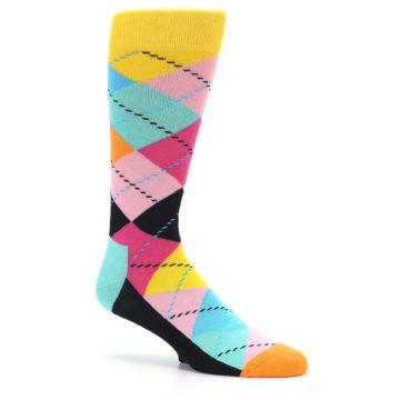 Image of Pink Multi Argyle Men's Dress Socks (side-1-26)