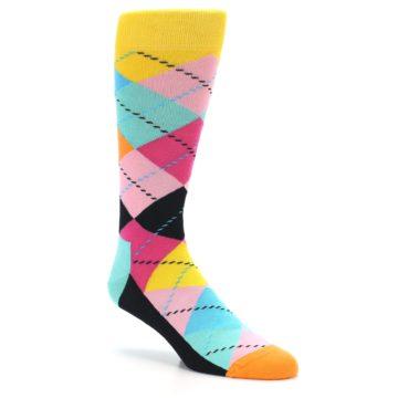 Image of Pink Multi Argyle Men's Dress Socks (side-1-27)