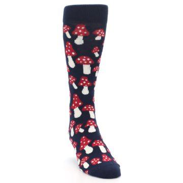 Image of Navy Red White Mushrooms Men's Dress Socks (side-1-front-03)