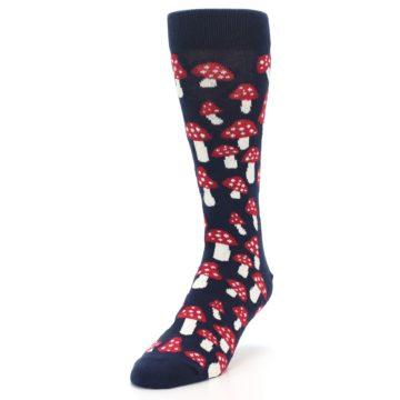 Image of Navy Red White Mushrooms Men's Dress Socks (side-2-front-07)