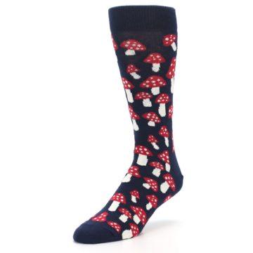 Image of Navy Red White Mushrooms Men's Dress Socks (side-2-front-08)
