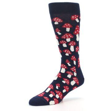 Image of Navy Red White Mushrooms Men's Dress Socks (side-2-09)