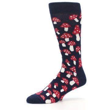 Image of Navy Red White Mushrooms Men's Dress Socks (side-2-10)