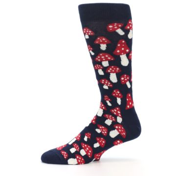 Image of Navy Red White Mushrooms Men's Dress Socks (side-2-11)