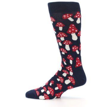 Image of Navy Red White Mushrooms Men's Dress Socks (side-2-12)