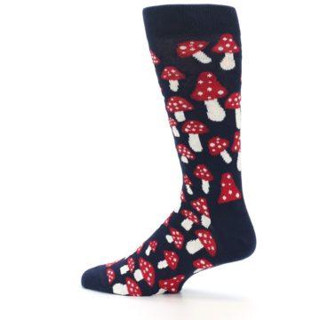 Image of Navy Red White Mushrooms Men's Dress Socks (side-2-13)