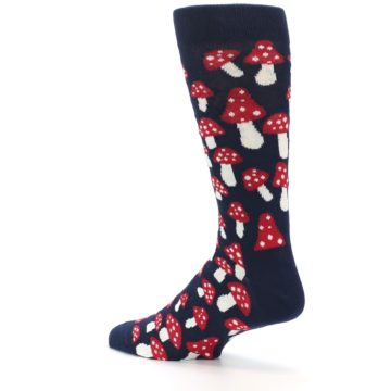 Image of Navy Red White Mushrooms Men's Dress Socks (side-2-back-14)