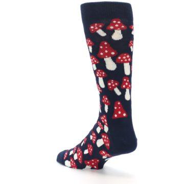 Image of Navy Red White Mushrooms Men's Dress Socks (side-2-back-15)