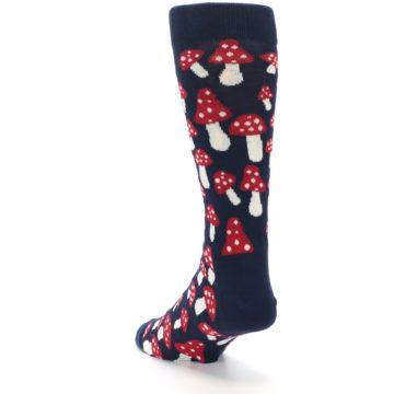 Image of Navy Red White Mushrooms Men's Dress Socks (side-2-back-16)