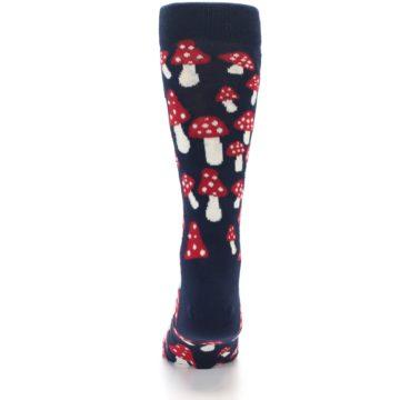 Image of Navy Red White Mushrooms Men's Dress Socks (back-18)