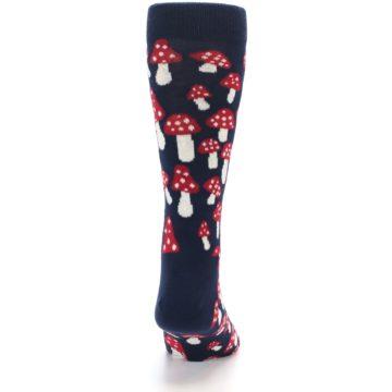 Image of Navy Red White Mushrooms Men's Dress Socks (back-19)