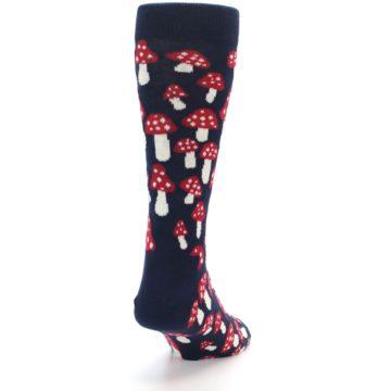 Image of Navy Red White Mushrooms Men's Dress Socks (side-1-back-20)