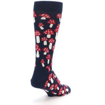 Image of Navy Red White Mushrooms Men's Dress Socks (side-1-back-21)