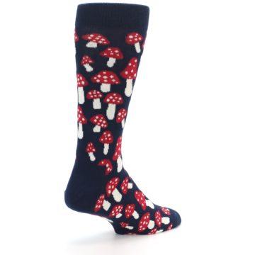 Image of Navy Red White Mushrooms Men's Dress Socks (side-1-back-22)