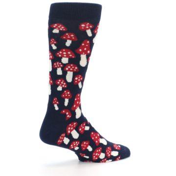 Image of Navy Red White Mushrooms Men's Dress Socks (side-1-23)