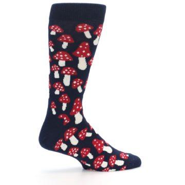 Image of Navy Red White Mushrooms Men's Dress Socks (side-1-24)