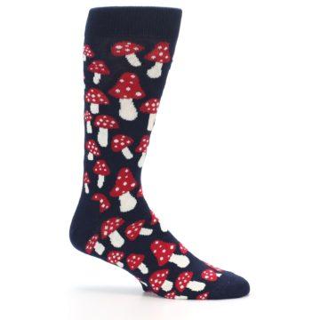 Image of Navy Red White Mushrooms Men's Dress Socks (side-1-25)