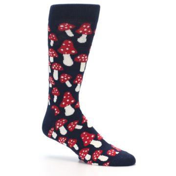 Image of Navy Red White Mushrooms Men's Dress Socks (side-1-26)