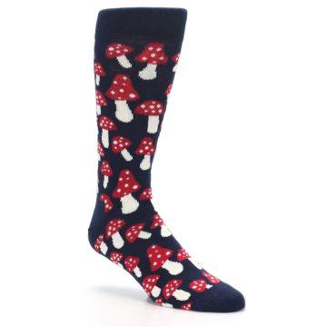 Image of Navy Red White Mushrooms Men's Dress Socks (side-1-27)