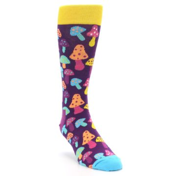 Image of Purple Multi Mushrooms Men's Dress Socks (side-1-front-02)