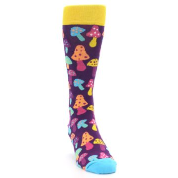 Image of Purple Multi Mushrooms Men's Dress Socks (side-1-front-03)