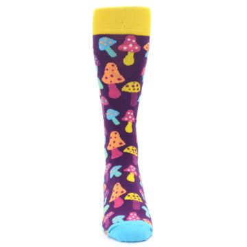 Image of Purple Multi Mushrooms Men's Dress Socks (front-04)