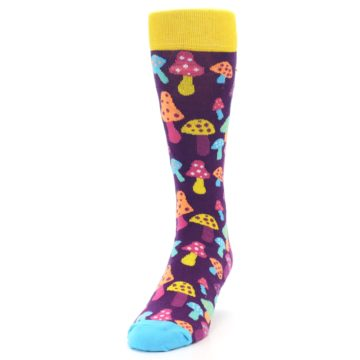 Image of Purple Multi Mushrooms Men's Dress Socks (side-2-front-06)