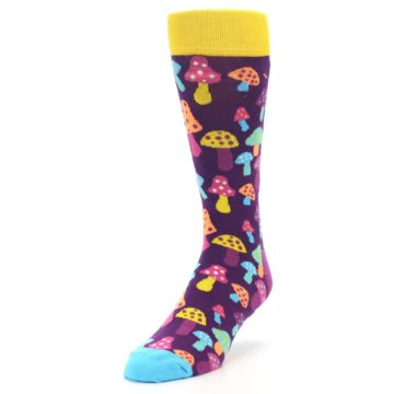 Image of Purple Multi Mushrooms Men's Dress Socks (side-2-front-07)