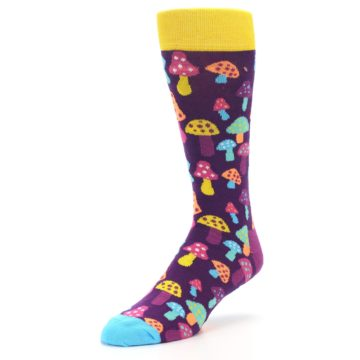 Image of Purple Multi Mushrooms Men's Dress Socks (side-2-front-08)