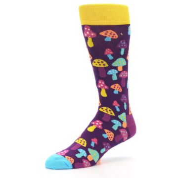 Image of Purple Multi Mushrooms Men's Dress Socks (side-2-09)