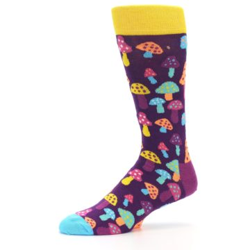Image of Purple Multi Mushrooms Men's Dress Socks (side-2-10)