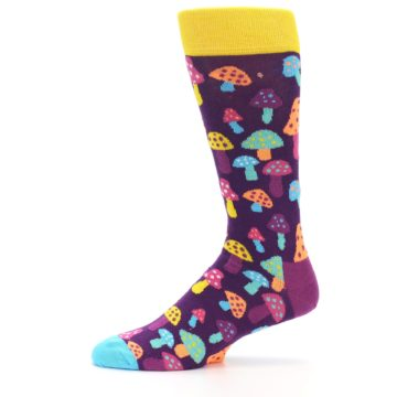 Image of Purple Multi Mushrooms Men's Dress Socks (side-2-11)