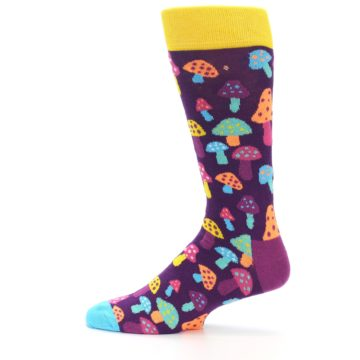 Image of Purple Multi Mushrooms Men's Dress Socks (side-2-12)