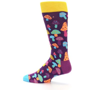 Image of Purple Multi Mushrooms Men's Dress Socks (side-2-13)