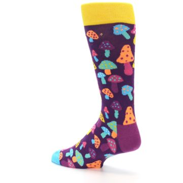 Image of Purple Multi Mushrooms Men's Dress Socks (side-2-back-14)