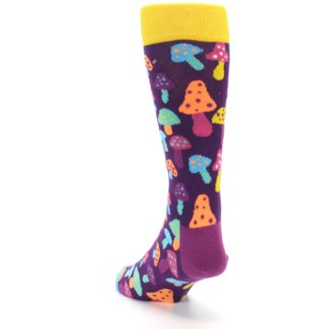 Image of Purple Multi Mushrooms Men's Dress Socks (side-2-back-16)