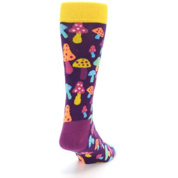 Image of Purple Multi Mushrooms Men's Dress Socks (side-1-back-20)