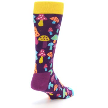 Image of Purple Multi Mushrooms Men's Dress Socks (side-1-back-21)