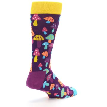 Image of Purple Multi Mushrooms Men's Dress Socks (side-1-back-22)