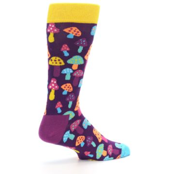 Image of Purple Multi Mushrooms Men's Dress Socks (side-1-23)