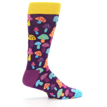 Image of Purple Multi Mushrooms Men's Dress Socks (side-1-24)