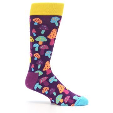 Image of Purple Multi Mushrooms Men's Dress Socks (side-1-25)