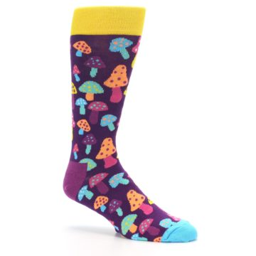 Image of Purple Multi Mushrooms Men's Dress Socks (side-1-26)